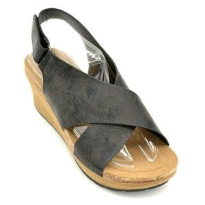 Pierre Dumas Women Chantal-7 Wedge Sandals 6.5 New